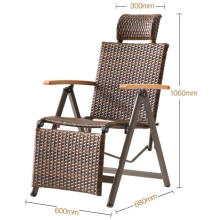 High quality modern folding rattan chair with footrest and armrest factory