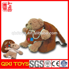 back to school backpack with 10'' removable plush teddy bear stuffed toy
