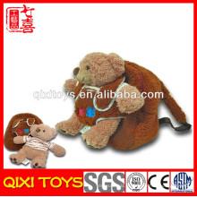 de volta à mochila escolar com 10 '' removível ursinho de pelúcia brinquedo de pelúcia