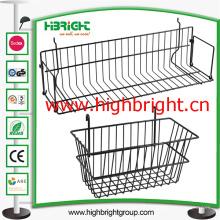 Cesta de suspensão do escaninho da rede de arame do supermercado para a barra transversal da prateleira