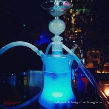 Shisha de narguilé de verre avec des lumières de LED Tuyau de silicone sans étui en cuir (ES-HS-001)