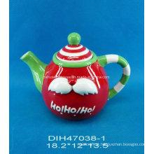 Teapot cerâmico pintado à mão para decoração de natal
