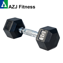 10LB Black Rubber Hex Dumbbell