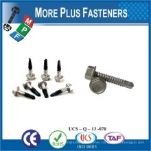 "Taiwan #10-16 x 1-1/4"" Hex Unslotted Hex Washer Head Epoxy #3 410 Stainless Steel Bonded Sealing Washer Self-Drilling Screw"