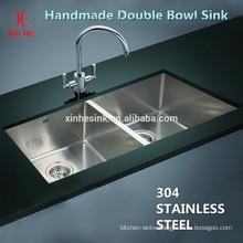Stainless steel cUPC handmade undermount double bowl apartment size kitchen sinks with small radius