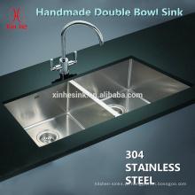 Aço inoxidável cUPC artesanal undermount pias de cozinha duplo tamanho do apartamento tigela com pequeno raio