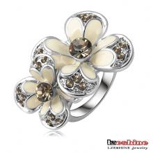 Anillo de flor de esmalte blanco anillo de goteo de aceite plateado platino (ri-hq0055)