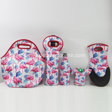 Washable insulated neoprene lunch bag set