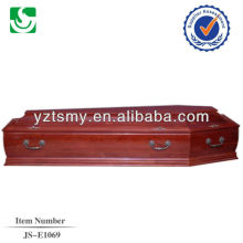 direct sale European style walnut adult coffin made in China