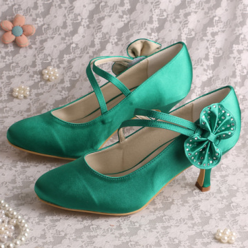 Mary Jane Silver Wedding Heels dengan Busur