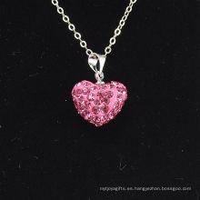 Arcilla cristalina Shamballa de Rose de la nueva llegada de la forma del corazón al por mayor con el collar de las cadenas de plata