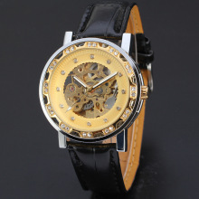 luxury diamond master men watch skeleton dial with leather band