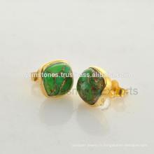 Vente en gros Vermeil Bijoux en pierre ornée plaqué or Fabricant Natural Green Copper Turquoise Gemstone Earrings Fournisseurs