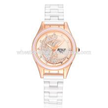 Venda clássica mais vendida mão livre adulto faixa de relógio de cerâmica branca