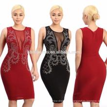 Femmes Deep V Neck Sequin Dress Party Soirée Mousseline de soie Embriodery Bodycon Mini Dress