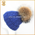 Wholesale Genuine Raccoon Knitted Fur Knit Pom Beanie Winter Hat