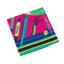 Nouveaux modèles multicolor selles impression écharpe mode dame faux écharpe en soie 130x130cm grand carré écharpe