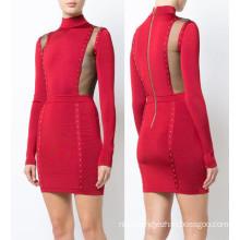 High Standard Red Long Sleeve High Neck Beading Bandage Dress