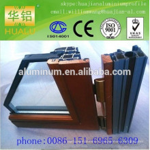 China lowest price wood- aluminium windows and profile, extrusion aluminium windows profile,