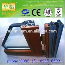 China menor preço de madeira janelas de alumínio e perfil, perfil de alumínio extrusão de janelas,