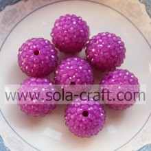 DIY Purple 16*18MM Fluorescent Resin Rhinestone Round Beads Jewelry Finding