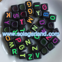 Acrylic Mix LETTER A-Z Black Cube ALPHABET Charms Loose BEADS 6MM