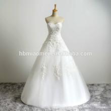 Vestido de novia personalizado vestido de novia de la boda sin tirantes de encaje con pulido sencillo más el tamaño del vestido de boda del cordón cristiano