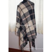 Chal de cuadros de cachemira y lana