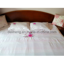 100% microfibra poliéster 3PCS branqueada branco bordado folha de cama conjuntos