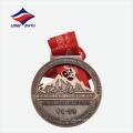 Antike Bronze überzogene Radfahren Match Metall Medaille