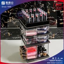 Black Spinning Acrylic Makeup Organizer Holder