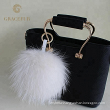 Luxury High Quality fluffy raccoon pom-pom keychain