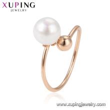 15320 xuping artículos de porcelana en línea que vende el anillo de dedo moldeado estupendo popular en galjanoplastia 18k con la perla blanca preciosa