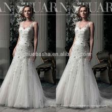Top Rated 2014 V-cuello de sirena de cola larga Tulle hizo vestido de encaje vestido de novia con la flor famoso diseñador en línea China NB0764