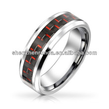 Tungsten Ring Black Red Fibra de Carbono Inlay Casamento Band 8mm China supplier