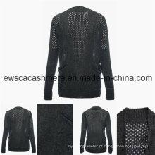 Women′s sensual mistura suéter com bordado Openwork