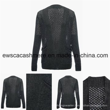 Women′s Sexy Cashmere Blend Sweater with Openwork Embroidery