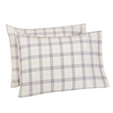Taies d'oreiller à carreaux teints en fils de coton