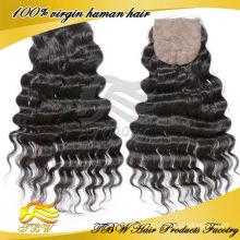 Vente chaude 5a qualité pas cher brésilienne vrais cheveux Silk Closure
