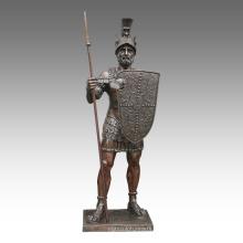 Große Figur Statue Speer Krieger Bronze Skulptur Tpls-093