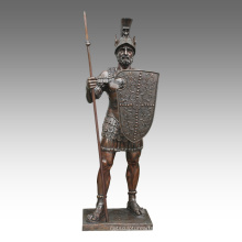 Grande Figure Statue Spear Warrior Bronze Sculpture Tpls-093