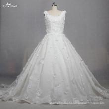 TW0167 3d Fllowers Rhinestone rebordeó la tela del cordón Vestidos de boda elegantes de la princesa