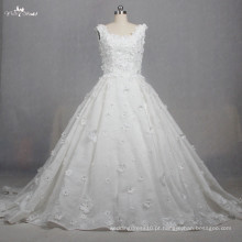 TW0167 3d Flowers Rhinestone Beaded Lace Fabric Elegant Princess Wedding Dresses