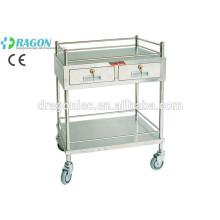 Chariot de traitement médical de DW-TT207 avec deux tiroirs pour le traitement en acier inoxydable qualifié de vente chaude tro