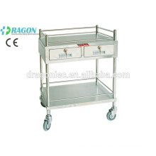 DW-TT207 medical treatment trolley with two drawers for hot sale qualified stainless steel treatment tro