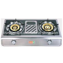 2 Burner Brass Cap Coated Stainless Panel Gas Stove