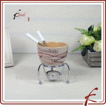 ceramic mini cheese fondue set with iron reck
