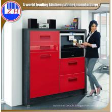 Cabinet de base de cuisine rouge recouvert d'UV