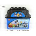 Conjunto de tijolos de brinquedo de polícia educacional DIY com balde azul