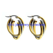 Fashion Jewelry Stainless Steel Hoop Earrings Two Tone